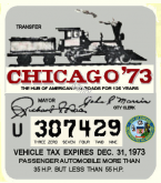 1973 IL Tax Registration sticker CHICAGO