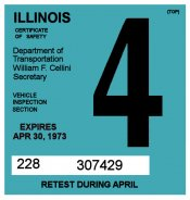 1972-73 Illinois Inspection Sticker