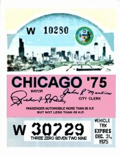 1975 IL Tax inspection sticker CHICAGO