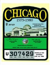 1979-80 IL tax Inspection sticker CHICAGO