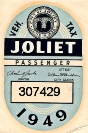 IL Joliet 1949 Inspection sticker