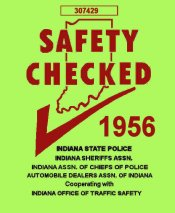 1956 Indiana Safety check Inspection Sticker