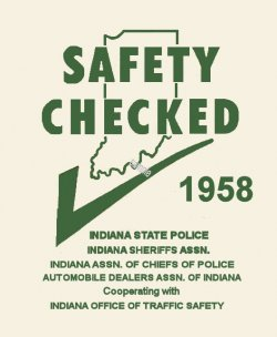 1958 Indiana Safety Check INSPECTION Sticker