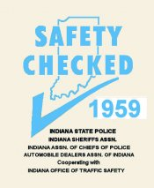 1959 Indiana Safety Check INSPECTION Sticker