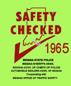1965 Indiana Safety Check INSPECTION Sticker