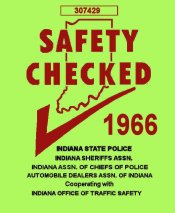 1966 Indiana Safety Check INSPECTION sticker