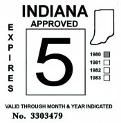 1980 Indiana Inspection Sticker BLACK