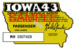 1943 Iowa REGISTRATION Sticker