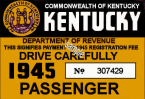 1945 Kentucky Registration/Inspection sticker