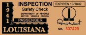 1941 Louisiana Inspection sticker