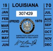 1970 Louisiana inspection sticker