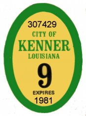 1981 Louisiana tax inspection sticker KENNER