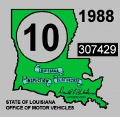 1988 Louisiana inspection sticker