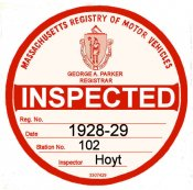 1928-29 Massachusetts INSPECTION Sticker