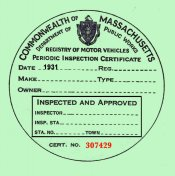 1931 Massachusetts INSPECTION Sticker