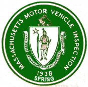 1938 Massachusetts Spring Inspection sticker