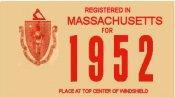 1952 Massachusetts REGISTRATION Sticker