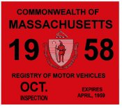 1958 Massachusetts Fall INSPECTION Sticker