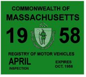 1958 Massachusetts Spring INSPECTION Sticker
