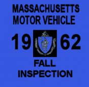 1962 Massachusetts FALL INSPECTION Sticker