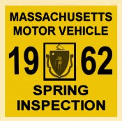 1962 Massachusetts SPRING INSPECTION Sticker