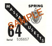 1964 Massachusetts SPRING INSPECTION Sticker