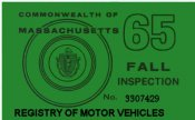 1965 Massachusetts FALL Inspection sticker