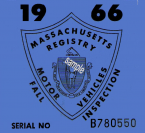 1966 Massachusetts FALL Inspection Sticker
