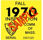 1970 Massachusetts FALL INSPECTION Sticker