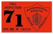 1971 Massachusetts FALL INSPECTION Sticker
