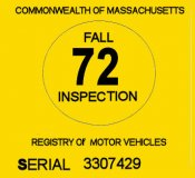 1972 Massachusetts FALL INSPECTION Sticker