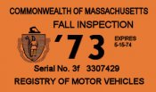 1973 Massachusetts FALL INSPECTION Sticker