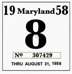 1958 Maryland Inspection sticker