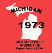 1973 Michigan Inspection Sticker
