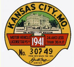 1941 Missouri Registration Inspection Sticker Kansas City