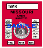 1963-65 Missouri INSPECTION Sticker