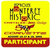 Monterey 2002 29th Rolex Raceway Corvette Sticker