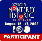 Monterey 2003 30th Rolex Ford Chrysler Sticker