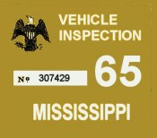 1965 Mississippi inspection sticker