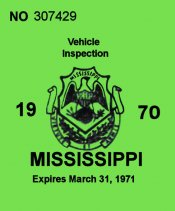 1970 Mississippi inspection sticker