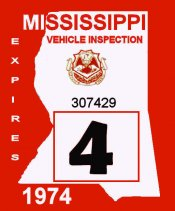 1974 Mississippi Inspection sticker