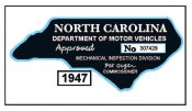 1947 North Carolina Safety Check inspection sticker