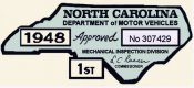 1948 North Carolina INSPECTION Sticker.
