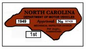 1949 North Caroline INSPECTION Sticker