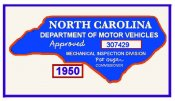 1950 NC Safety Check Inspection sticker