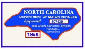 1958 NC Inspection Sticker (Estimate)