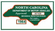 1964 North Carolina inspection sticker