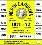 1971-72 North Carolina INSPECTION Sticker