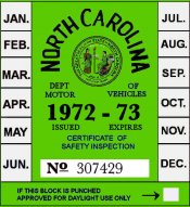 1972 -73 North Carolina Inspection sticker