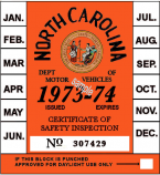 1973-74 North Carolina Inspection Sticker